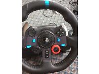 LOGITECH G29 WHEEL EXCELLENT CONDITION USED ONLY A COUPLE TIMES COMPATIBLE WITH PS4/PC