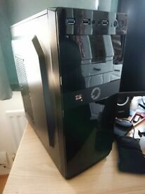 Gaming PC Case with Illuminated Front Logo - Black