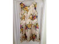 Monsoon Maddox Gold Floral Jacquard Dress - Size 16