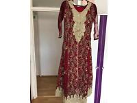 Red Pakistani Indian Asian wedding party dress