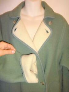 12 14 WETHERALL UK RARE Green Swing Coat Oakville Long Wool Womens M L Wide Hip Vintage Coat England L Large - Maternity