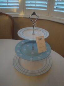 LAURA ASHLEY Ceramic 3 tiered cake stand Blue & White Spots & Stripes BNWT