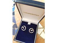 Brand New Goldsmiths 9ct white gold loop earrings