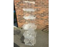 WINE STAND TOWER RETAIL DISPLAY in 360 Degree CLEAR ACRYLIC PERSPEX