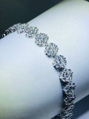 Platinum Sterling Silver White Sapphire Flower Design Halo Tennis Bracelet 7