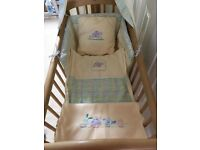 Wooden Crib with matching mamas and papas bedding set, stand and drape