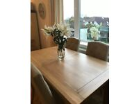 Solid Oak Dining Table and 4 chairs