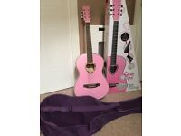 Candy Rox acoustic guitar - pink with case