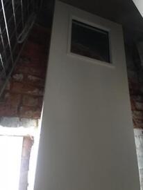 Fire door, white, glass window