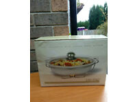 NEW Oval Casserole with Chrome Base Burner