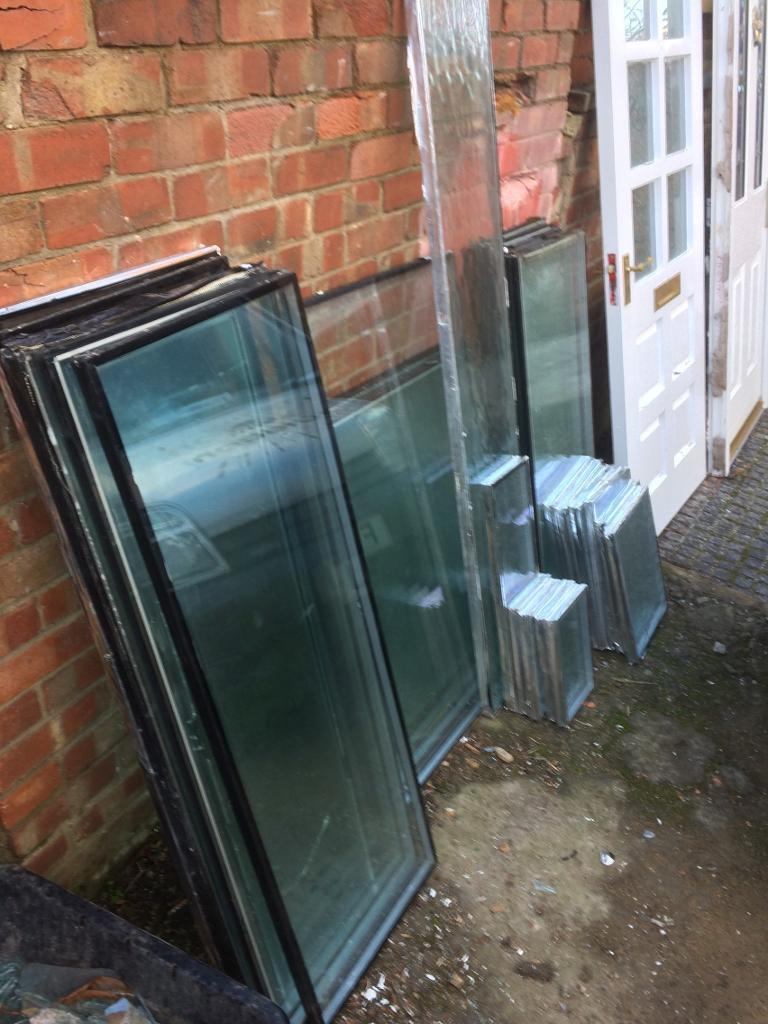 Glass units, double glazed, second hand, 26 of them, various sizes £15.
