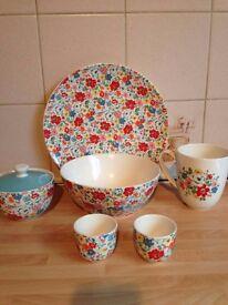 cath kidston bundle egg cups bowl plate sugar bowl lid milk jug
