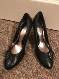 Barretts black leather shoes (size 5)