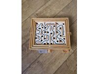 Vintage Wooden Labyrinth Puzzle Traditional Ball Game in Good Condition.