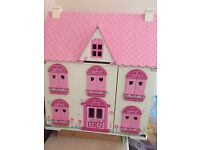 Early Learning Centre Rosebud House wooden dolls house with some furniture
