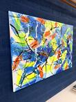 Schilderij- Abstract - NEON  yellow & blue - Rick Triest...