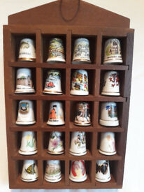 20 Various Thimbles in Display Case
