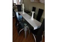 6 Seater Glass Table Leather Chairs