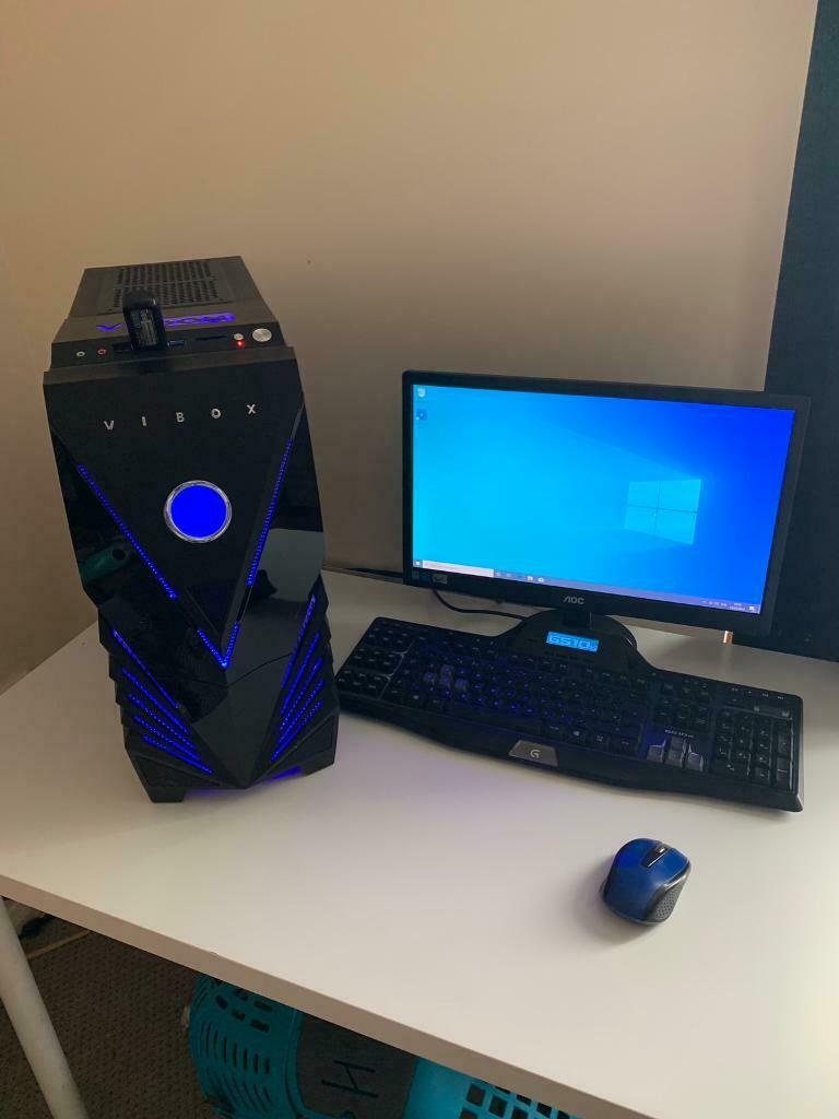 VIBOX Gaming PC With Monitor, Logitech Keyboard, wireless mouse & WiFi  adaptor | in St Austell, Cornwall | Gumtree