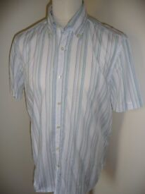 Massimo Dutti White/Coloured Striped Short Sleeved Casual Shirt Size XL Never Been Worn