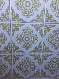Retro Ceramic Wall Tiles White / Avacado Green approx 200 (used)