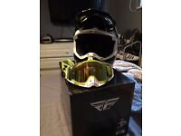 Fly Racing Motocross Helmet Rockstar & 100% Racecraft Goggles