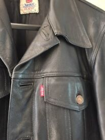 1980's Black Leather Levi Trucker jacket, relined, excellent condition American Medium/ UK Large