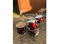 DRUM KIT COMPLETE 5 SET WITH ALL STANDS CYMBALS STICKS & BRUSHES