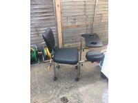 Salon beauty client chair; landscape canvas picture; black rim mirror