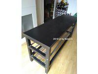 IKEA TJUSIG Black Bench with Shoe Storage