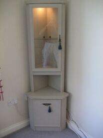 FRENCH STYLE WOODEN CORNER GLASS CABINET WITH LOWER CUPBOARD