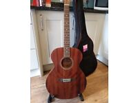 Beautiful 'Vintage' wooden guitar, stand and carry-bag