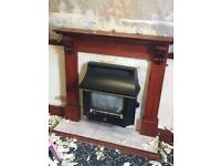 Real flame gas fire and fire surround