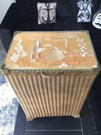 Vintage wicker laundry storage basket