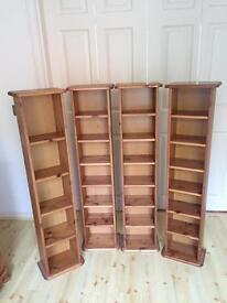 4 x Pine DVD/CD Storage towers