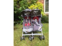 Maclaren Twin Techno Grey Pushchair Buggy - Red / Charcoal Pram