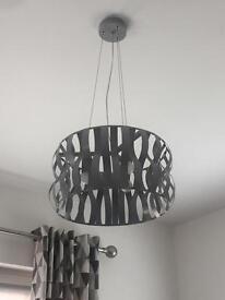 Grey metal hanging light