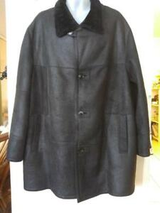 Oakville MENS NEW $1600 SHEEPSKIN SHEARLING COAT XL 2X BLACK 50 52 54 JACKET Toronto Leathers Made in Canada NWOT