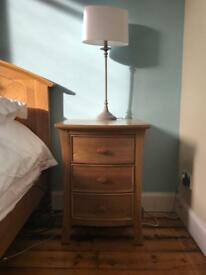 Two matching high quality oak bedside tables for sale