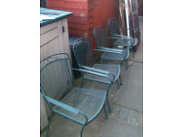 Set of 4 wrought iron garden chairs