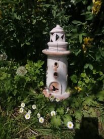 40cm teracotta lighthouse candle holder - vintage garden, nautical, boat, ship