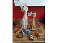 Selection of 9 Wooden Cat ornaments. For collection only