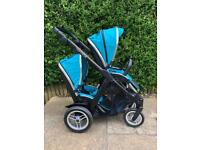 Oyster Max Tandem in Ocean Blue Double Buggy