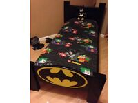 BATMAN BED SOLID PINE HAND CARVED LOGO