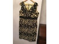 Gold black/yellow sleeveless dress; UK 16