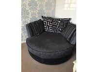 Three seater sofa,Snuggle Chair and puffee