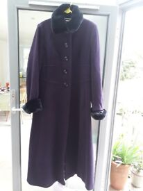 """Beautiful Laura Ashley full length winter coat. Size 18. Gorgeous aubergine colour with """"fur"""" collar"""