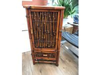 Cane/Bamboo Wine Cabinet with Drawer