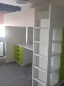 Cabin bed: desk/draws/wardrobe IVGC