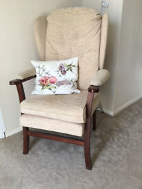 High backed single chair - dark wood - in great condition